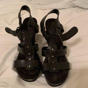 Dr Scholls black, gladiator style heels, size 8